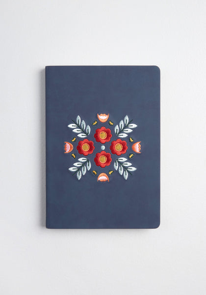 Rustic Floral Memories Embroidered Notebook