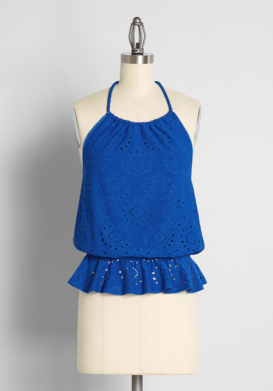 60s Shirts, T-shirts, Blouses, Hippie Shirts ModCloth Sought After in Sapphire Halter Top Size 4X $45.00 AT vintagedancer.com