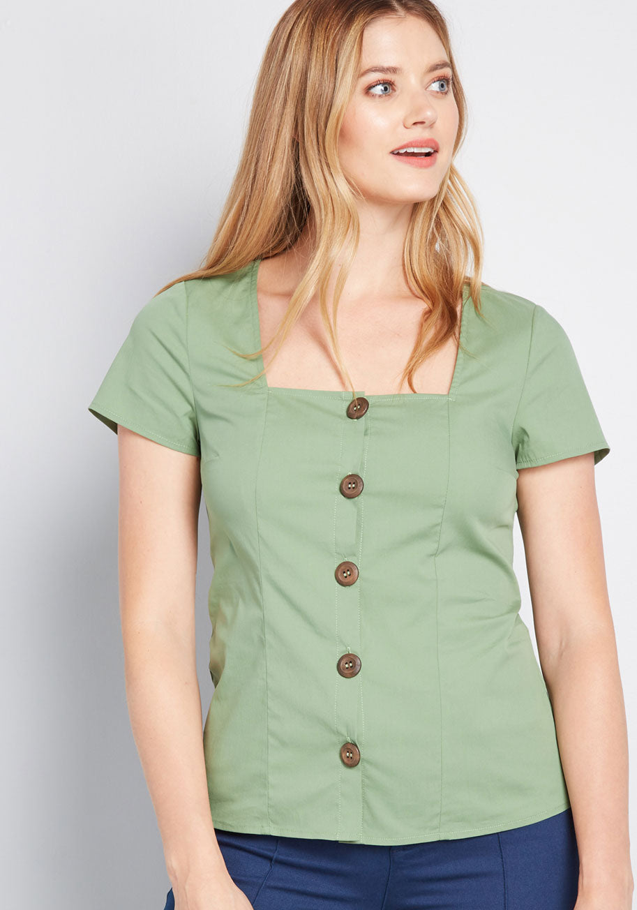 Cottagecore Clothing, Soft Aesthetic ModCloth Cottage Curation Square Neck Top in Green Size XL $19.97 AT vintagedancer.com