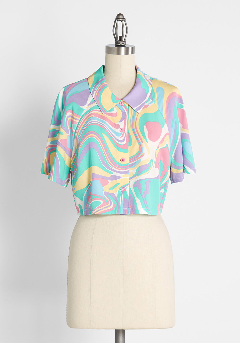 80s Tops, Shirts, T-shirts, Blouse   90s T-shirts Dangerfield Swirling in Pastels Cropped Button-Up Shirt in Pink Size 12 $26.99 AT vintagedancer.com