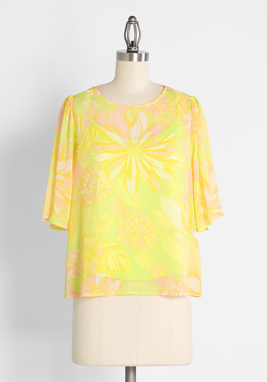 60s Shirts, T-shirts, Blouses, Hippie Shirts ModCloth Fluttering Outta Sight Blouse in Harlow Floral Neon Lime Size 4X $49.00 AT vintagedancer.com