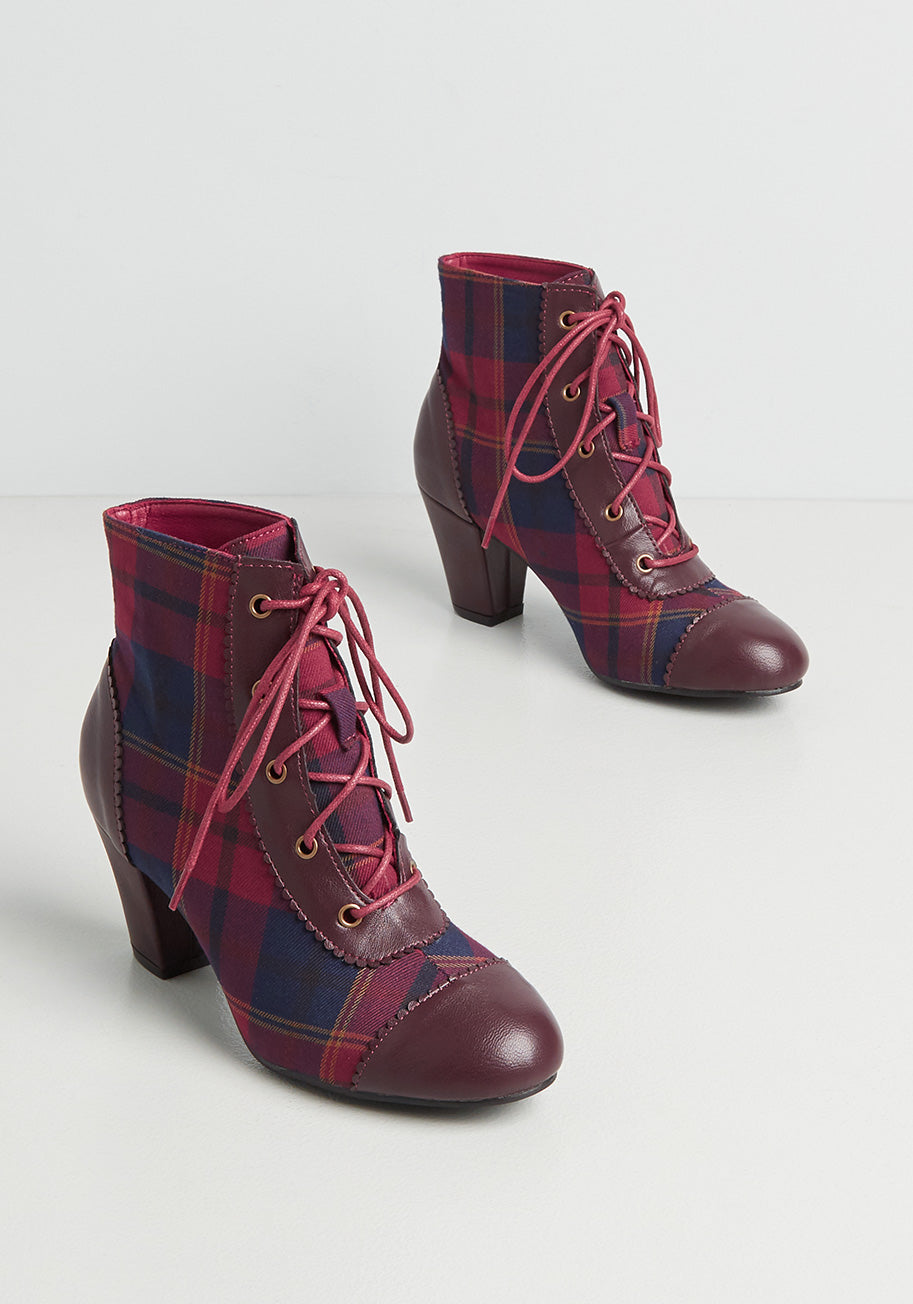 1950s Style Shoes   Heels, Flats, Boots Lulu Hun x Collectif Cranberry Crush Ankle Boot in Misc Size 8 $119.00 AT vintagedancer.com