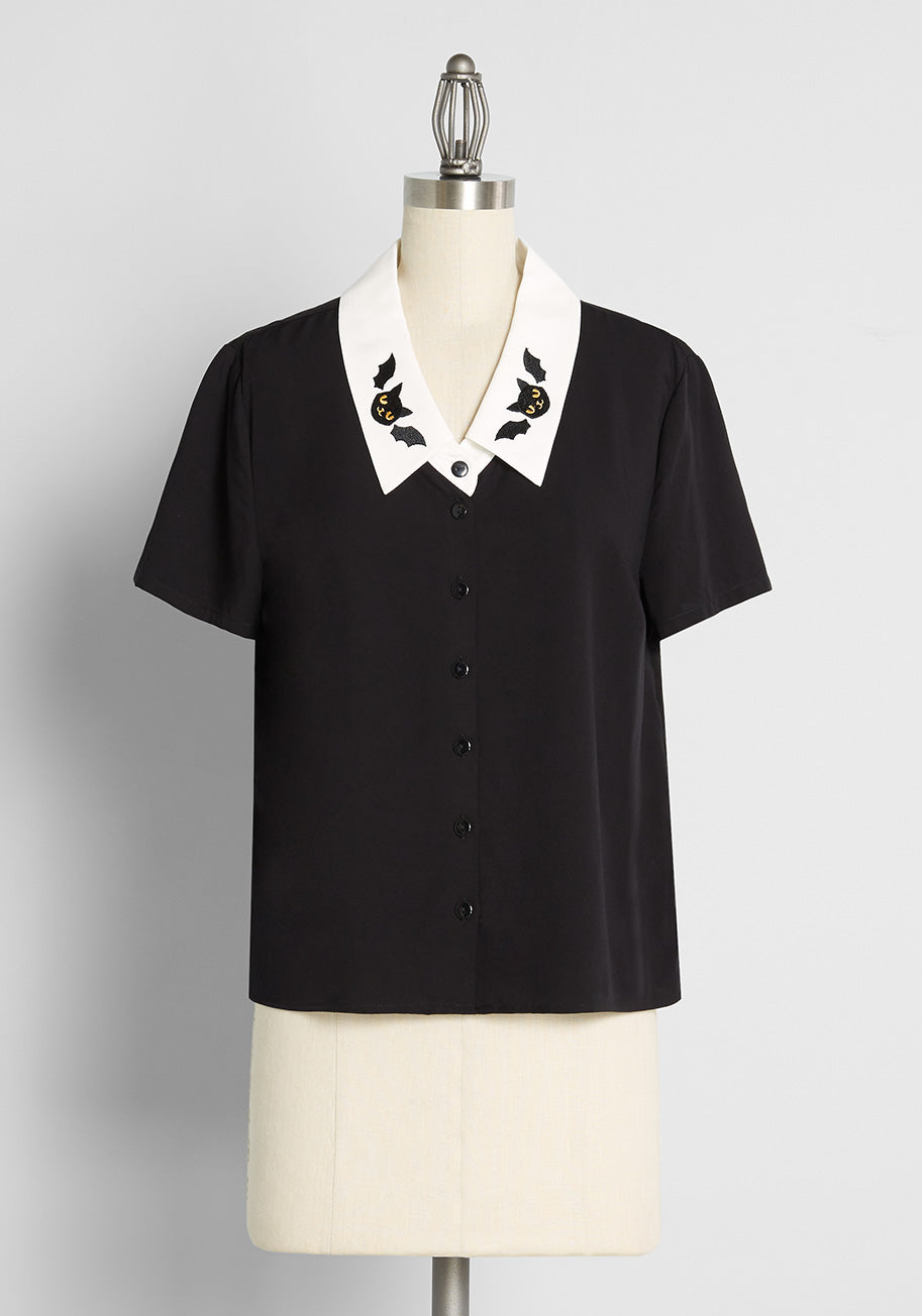 Easy Retro Halloween Costumes – Last Minute Ideas ModCloth x Dangerfield Feline Fusion Button-Up Top in Black Size 26 $59.00 AT vintagedancer.com