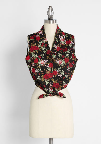 Roses After Dark Tie-Front Blouse