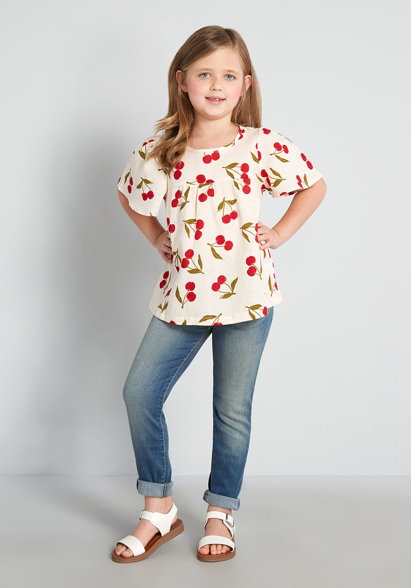 Princess Highway Kids The Perfect Pickings Flutter Sleeve Top in Cherry Print