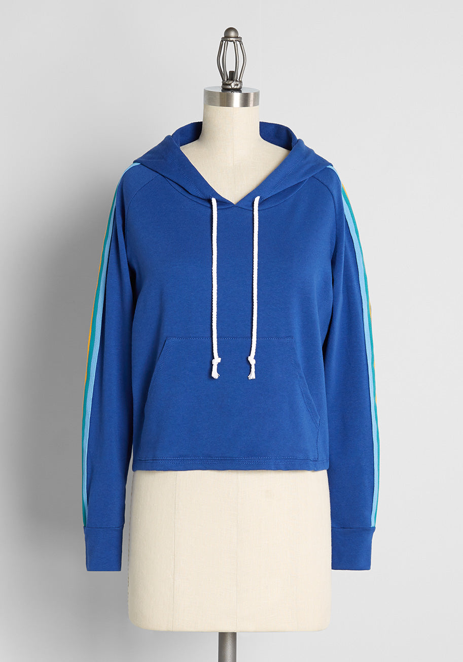 Vintage Workout Clothes – Retro Gym Clothes CAMP Jog Around the Frock Hoodie Jacket in Blue Size 2X $75.00 AT vintagedancer.com