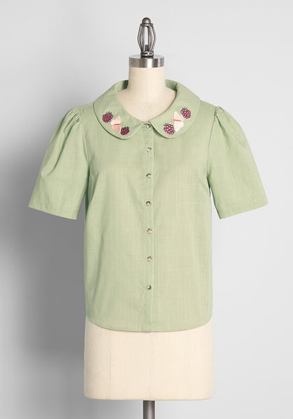 Jammin' With Butterflies Embroidered Button-Up Blouse