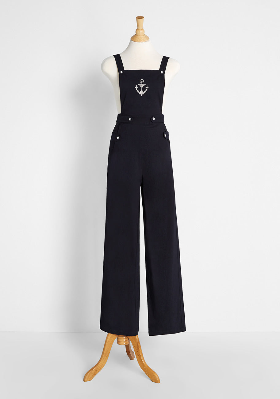 1930s Wide Leg Pants and Beach Pajamas Voodoo Vixen Just the Sea and Me Overalls in Navy Size 2XL $99.00 AT vintagedancer.com