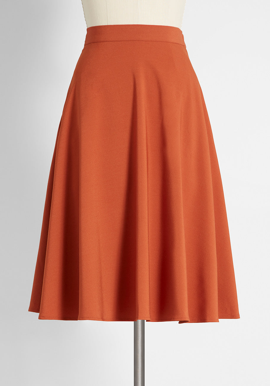 1940s Style Skirts- Vintage High Waisted Skirts ModCloth Just This Sway A-Line Skirt in Rust Size 4X $59.00 AT vintagedancer.com