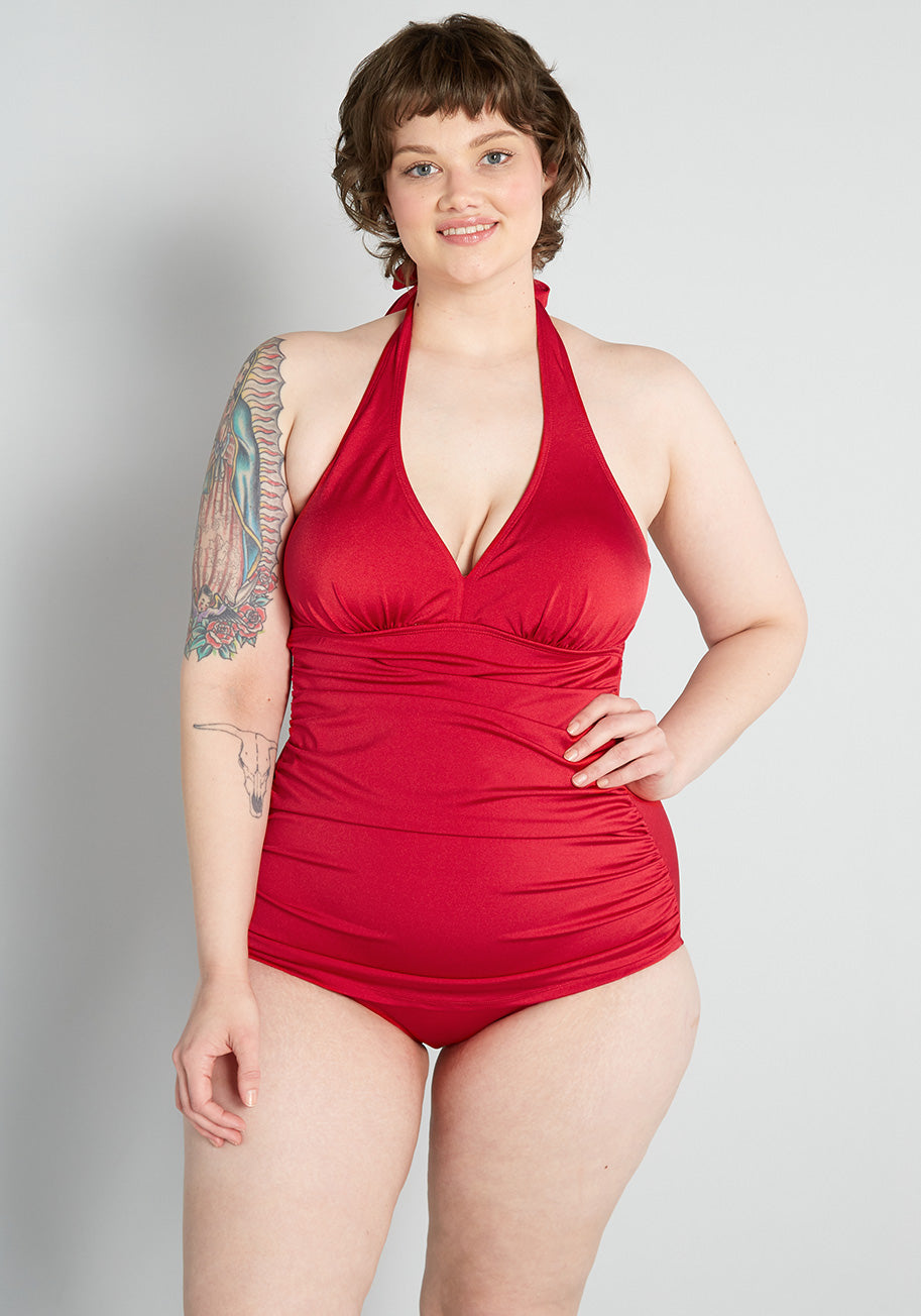 1950s Bathing Suits, Swimsuits History Esther Williams The Bathing Bombshell One-Piece Swimsuit in Red Size 24W $99.00 AT vintagedancer.com
