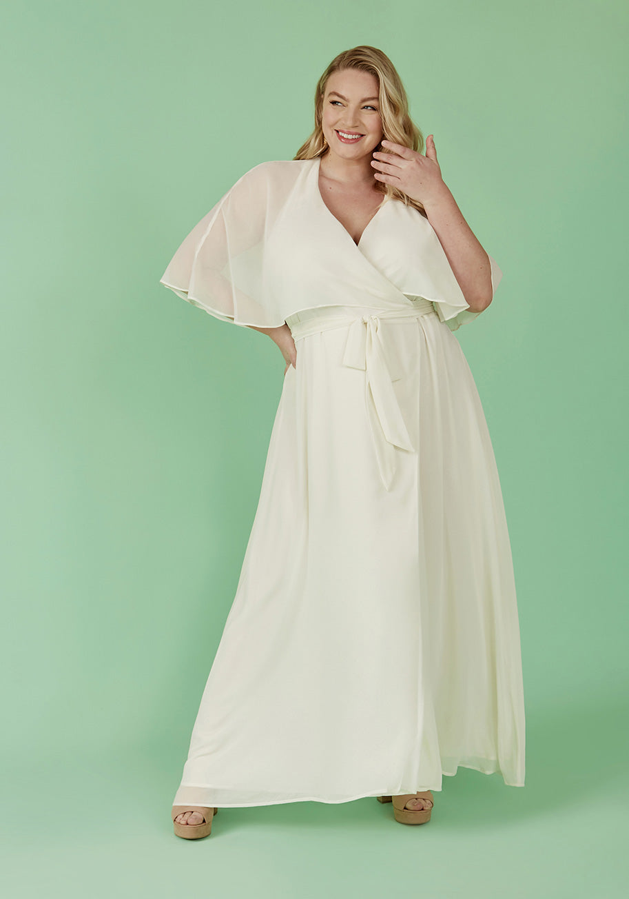 60s Wedding Dresses | 70s Wedding Dresses ModCloth Wrapped in Rapture Maxi Dress in White Size 4X $149.99 AT vintagedancer.com