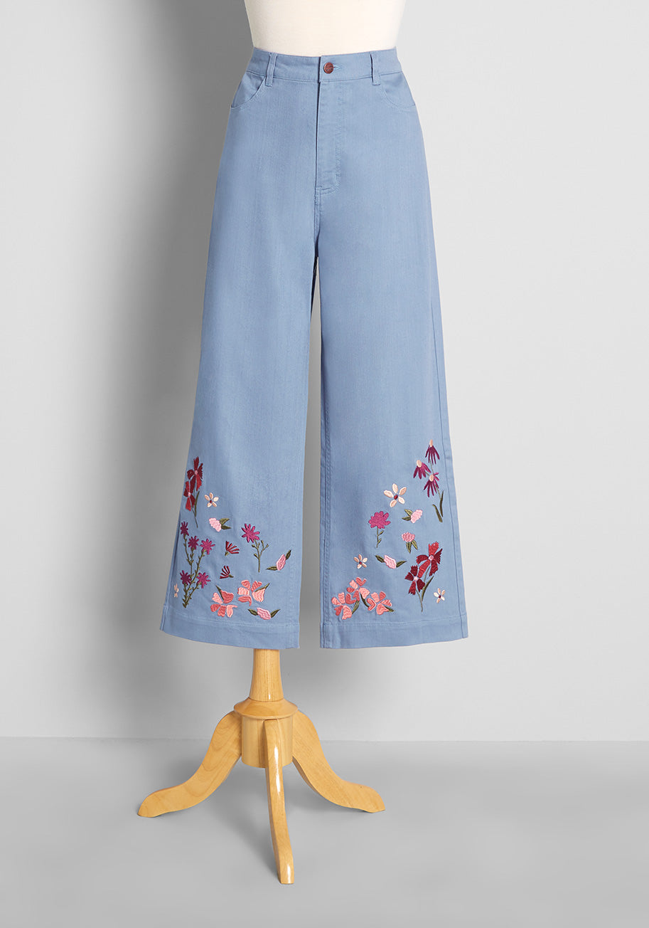 60s Pants, Jeans, Hippie, Flares, Jumpsuits ModCloth Grazing in Flower Fields Embroidered Wide-Leg Jeans in Blue Size 16 $79.00 AT vintagedancer.com