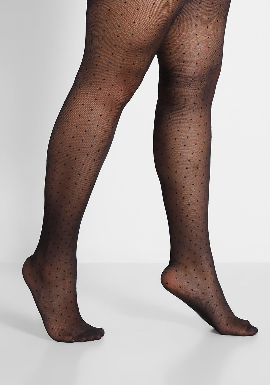 1960s Tights, Stockings, Panty Hose, Knee High Socks ModCloth Delicate Details Tights - Plus Size in Black Size 2XL $10.97 AT vintagedancer.com