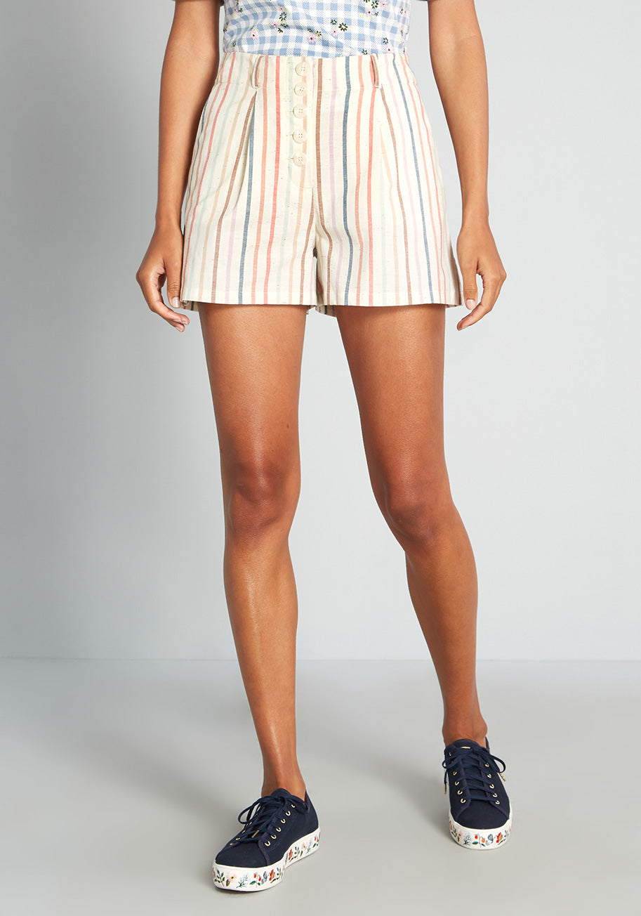 70s Shorts | Denim, High Rise, Athletic ModCloth Hitting the High Tide High-Rise Shorts in Tan Size 26W $59.00 AT vintagedancer.com