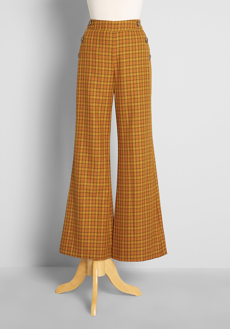 1960s Style Clothing & 60s Fashion ModCloth Making Power Moves Wide-Leg Pants in Camel in Tan Size 26 W $89.00 AT vintagedancer.com