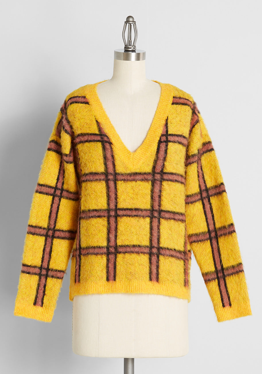 1980s Clothing, Fashion | 80s Style Clothes ModCloth Already Checked In Pullover Sweater in Yellow Size 3X $69.00 AT vintagedancer.com