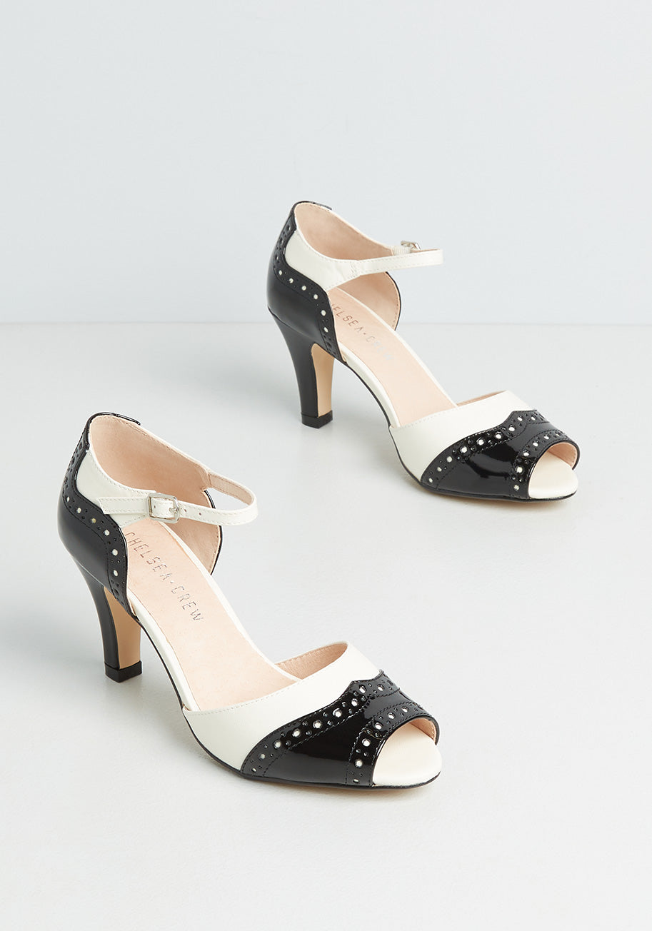 1950s Shoe Styles: Heels, Flats, Sandals, Saddle Shoes Chelsea Crew Oh-So-Upscale Heels in Black Size 41 $69.00 AT vintagedancer.com