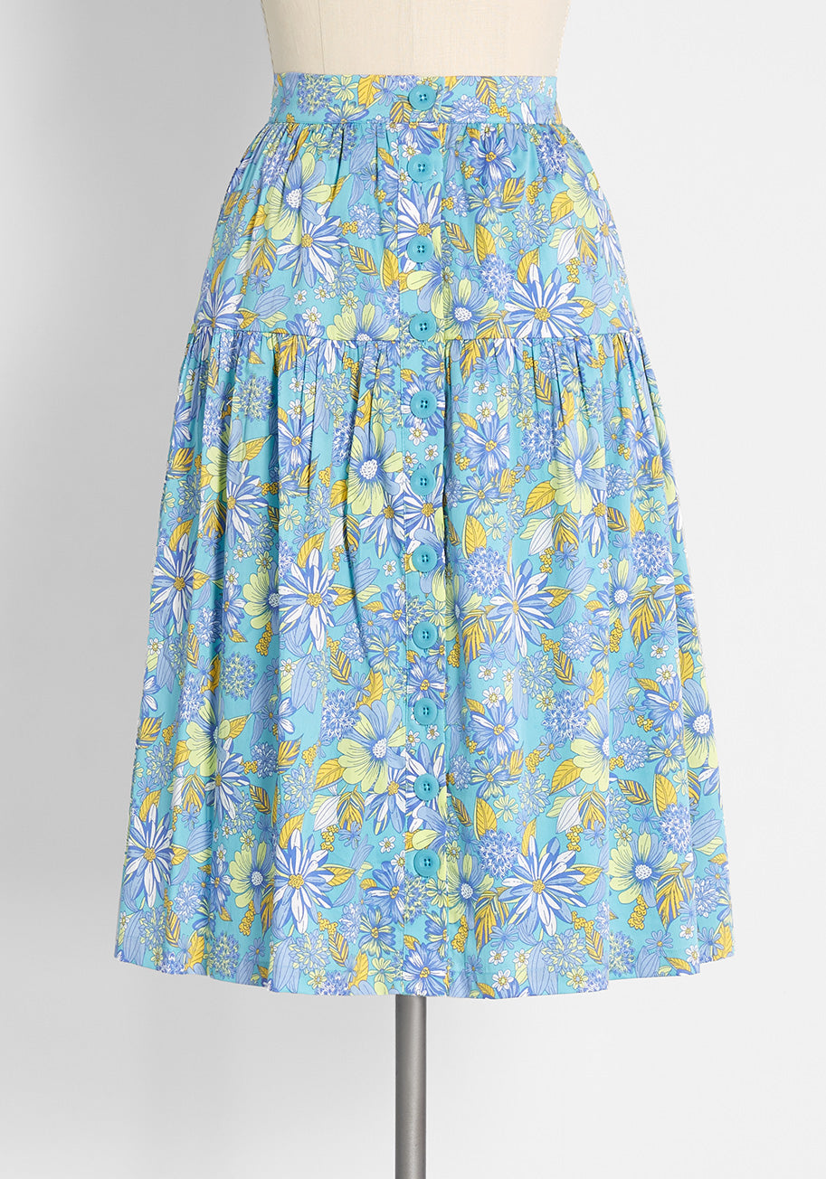 60s Skirts   70s Hippie Skirts, Jumper Dresses ModCloth Daisies At Nightfall Tiered Midi Skirt in Harlow Floral Sea Blue Size 26 W $29.97 AT vintagedancer.com