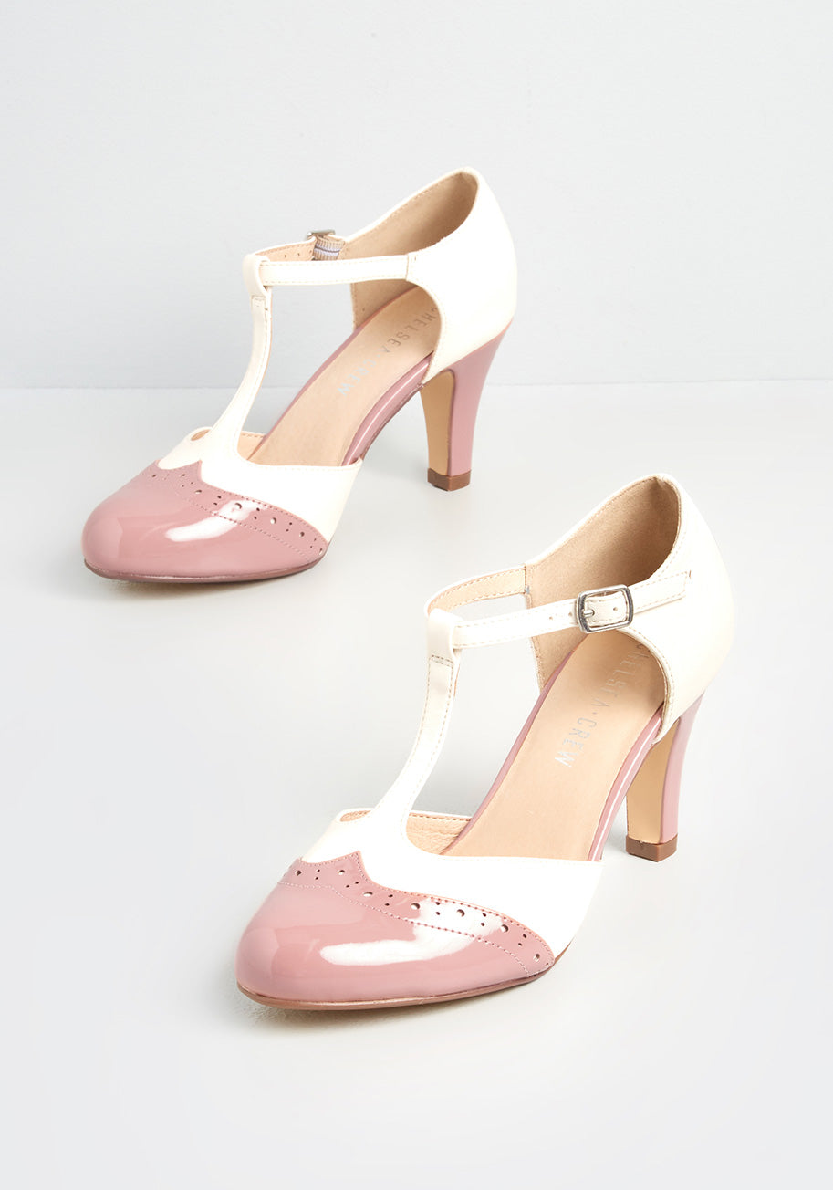 1960s Style Clothing & 60s Fashion Chelsea Crew Primed For Playfulness T-Strap Heels in PinkWhite Size 42 $72.00 AT vintagedancer.com