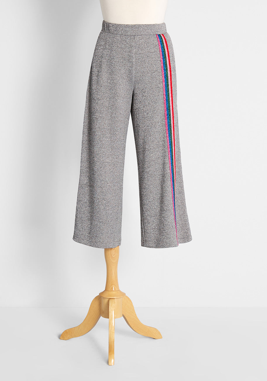 70s Workout Clothes | 80s Tracksuits, Running Shorts, Leotards ModCloth Racing in Rainbow Stripes Wide-Leg Knit Pants in Grey Size 1X $49.00 AT vintagedancer.com