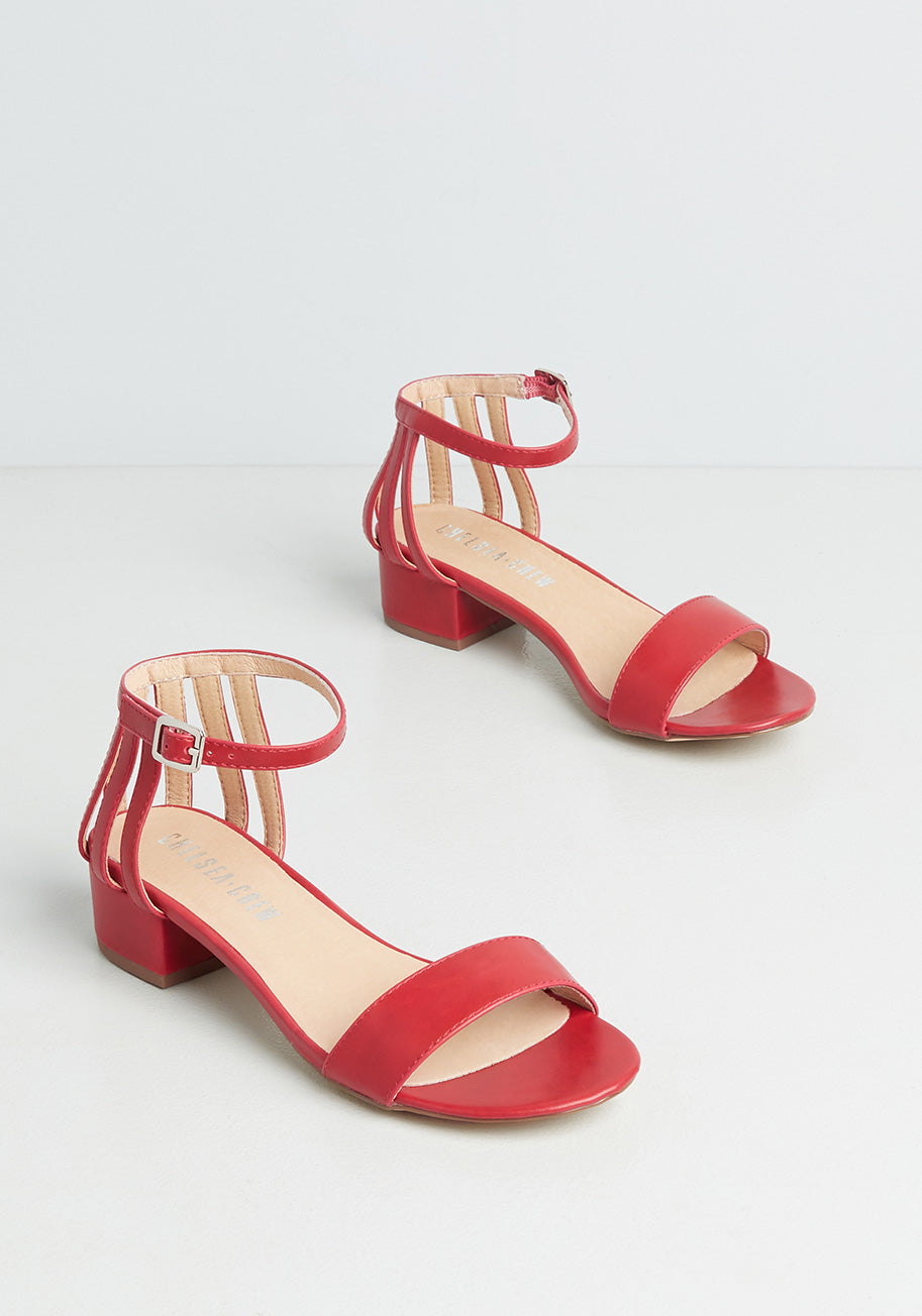 70s Outfits – 70s Style Ideas for Women Chelsea Crew Always a Pleasure Sandals in Red Size 42 $59.00 AT vintagedancer.com