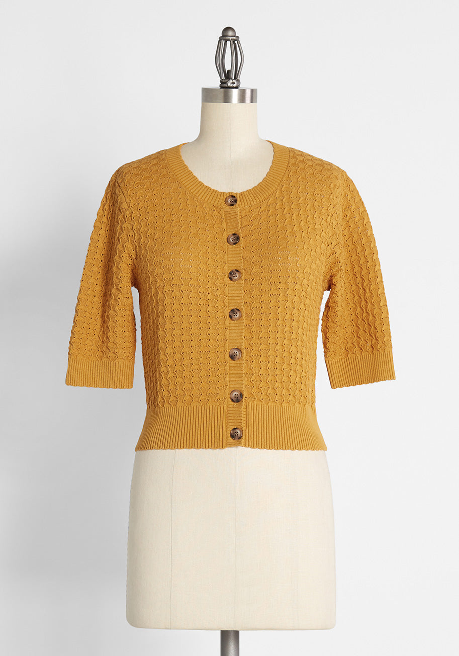 Vintage Sweaters & Cardigans: 1940s, 1950s, 1960s Princess Highway Honey and Haute Cropped Cardigan in Yellow Size 12 $54.99 AT vintagedancer.com