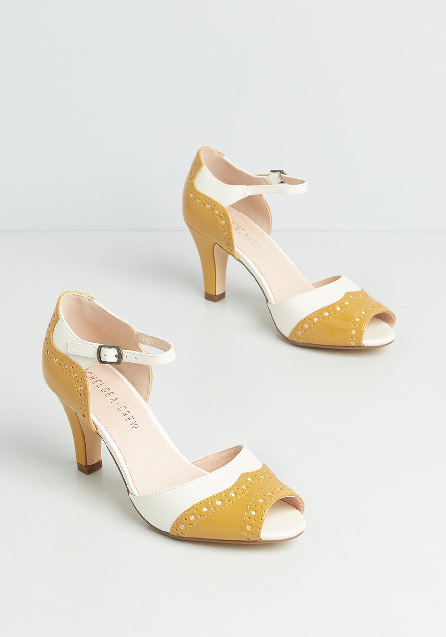 1960s Style Clothing & 60s Fashion Chelsea Crew Oh-So-Upscale Heels in Yellow Size 42 $69.00 AT vintagedancer.com