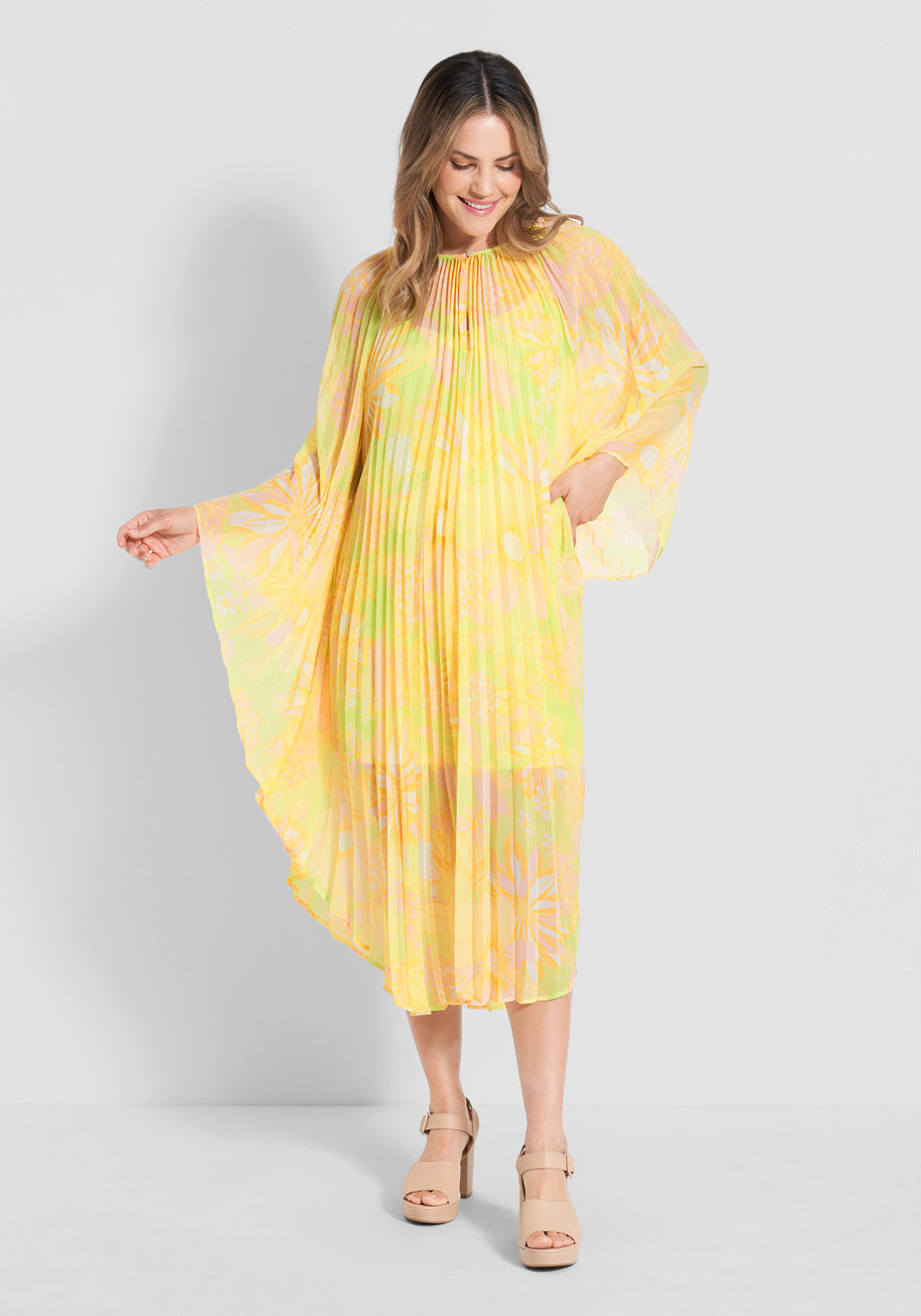 70s Dresses – Disco Dress, Hippie Dress, Wrap Dress ModCloth That 70s Vacation Kaftan Dress in Harlow Floral Neon Lime Size Small $89.99 AT vintagedancer.com