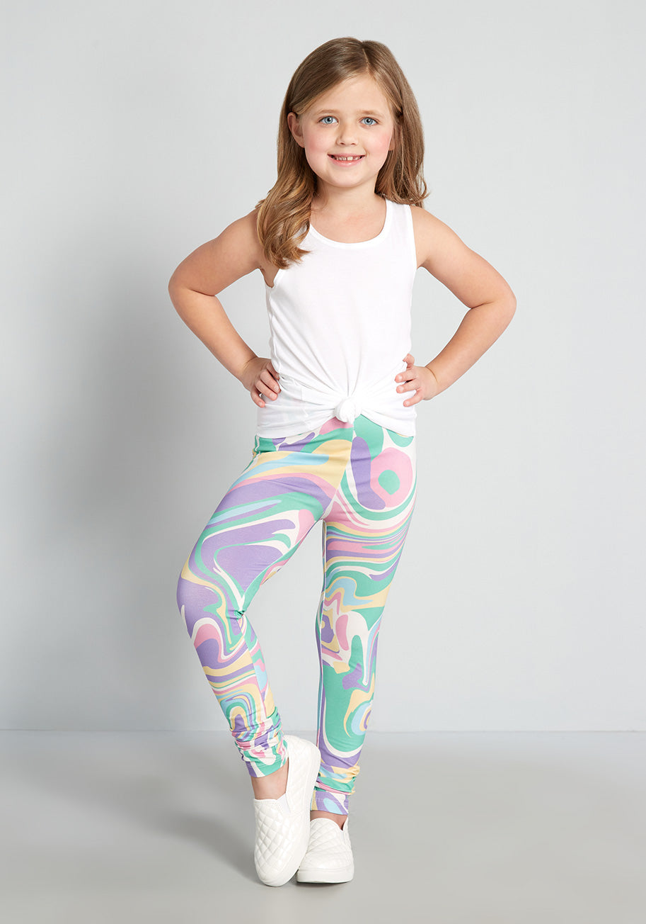 60s 70s Kids Costumes & Clothing Girls & Boys Dangerfield Kids Twirling and Swirling in Rainbows Leggings Size 89 $19.00 AT vintagedancer.com
