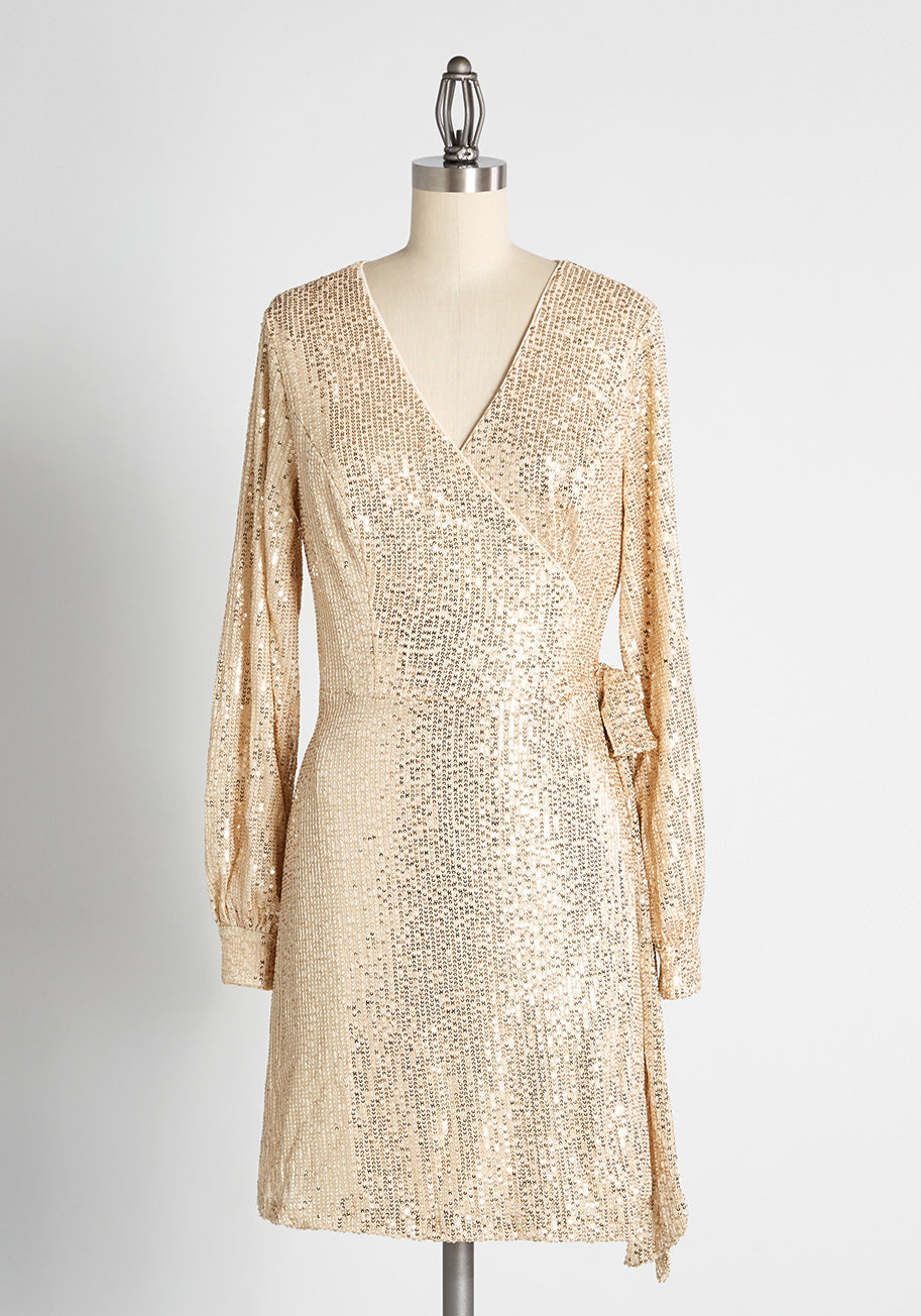 70s Prom, Formal, Evening, Party Dresses Chi Chi London New Years Revolution Mini Dress in Gold Size 8 $64.99 AT vintagedancer.com