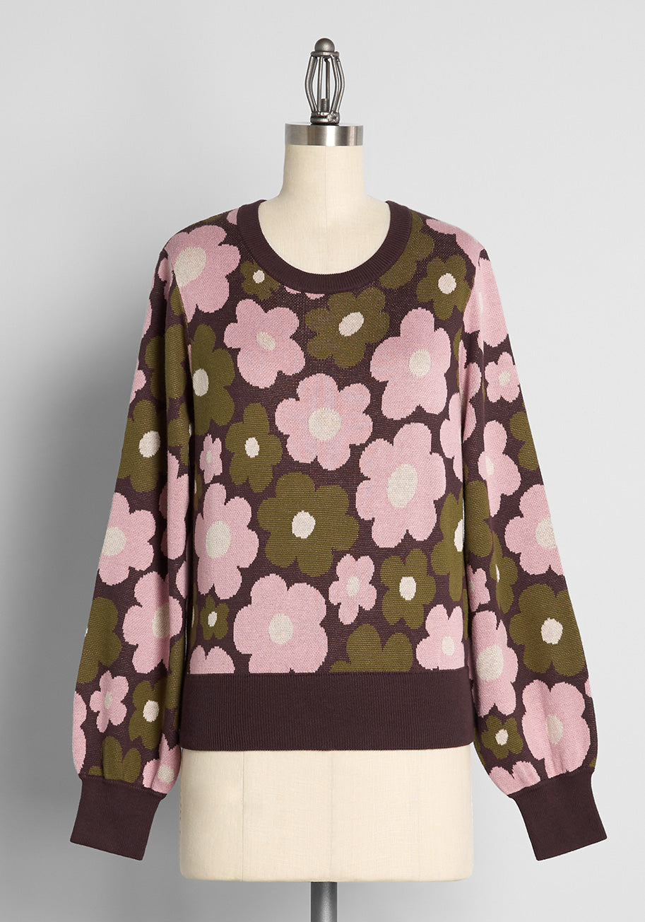 Vintage Sweaters, Retro Sweaters & Cardigan ModCloth x Princess Highway A Beautiful Bundle Graphic Sweater in Brown Size 28 $69.00 AT vintagedancer.com