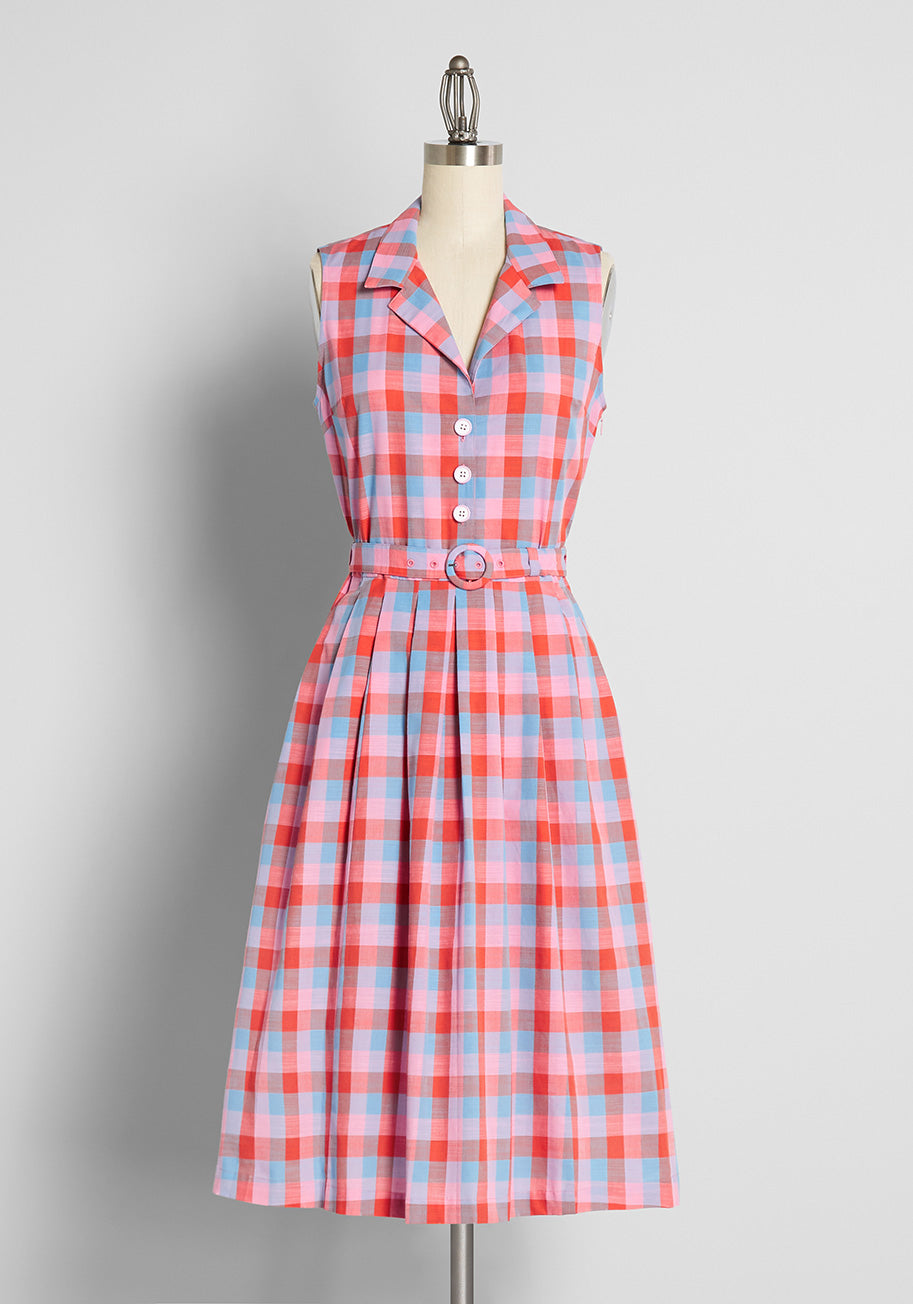 1950s Style Clothing & Fashion ModCloth x Barbie Pretty Pretty Picnic Fit and Flare Dress in Barbie Check Yarn Dye Size 26W $119.00 AT vintagedancer.com