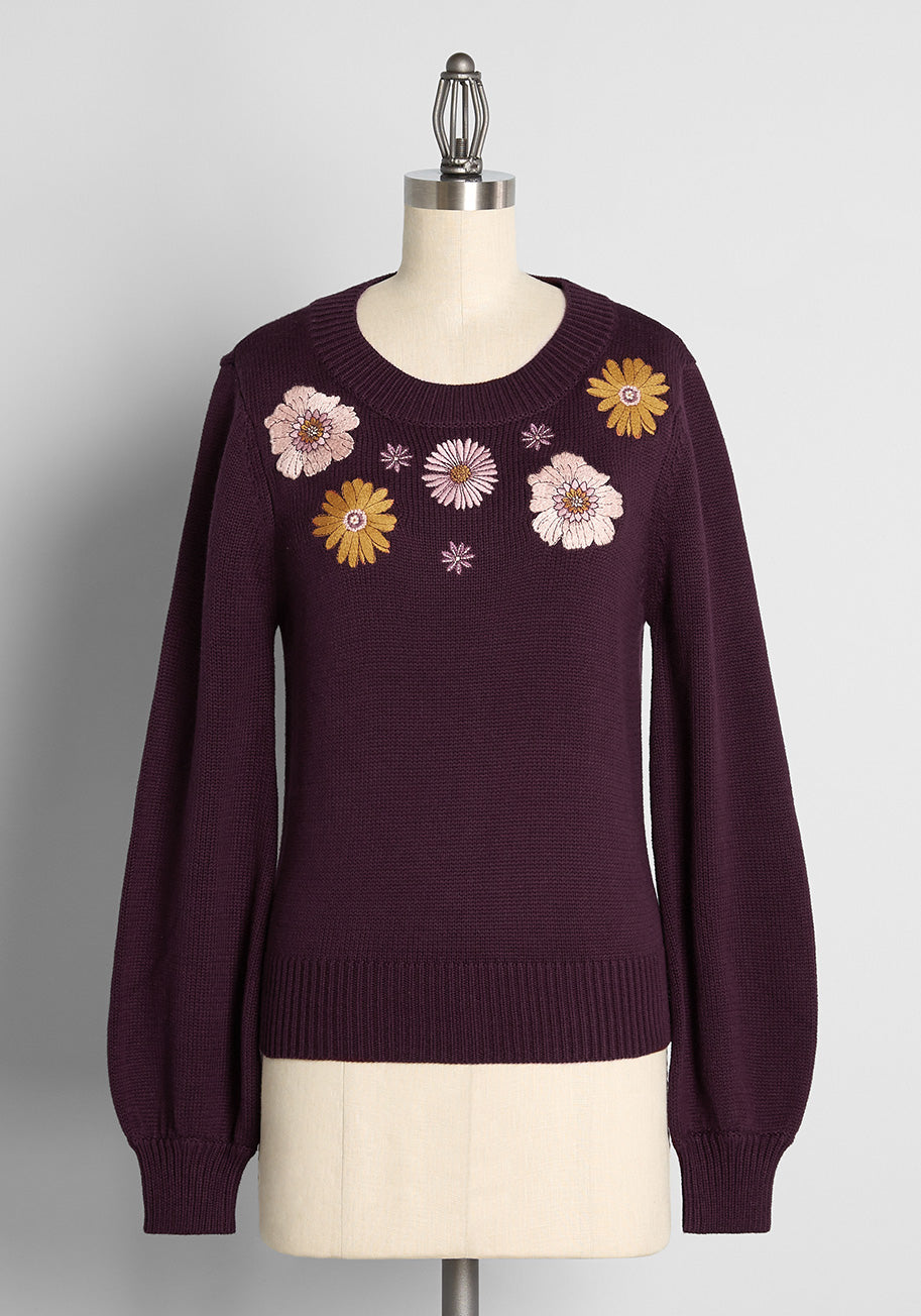 Vintage Sweaters, Retro Sweaters & Cardigan ModCloth x Princess Highway Floral Embroidered Sweater in Purple Size 28 $69.00 AT vintagedancer.com