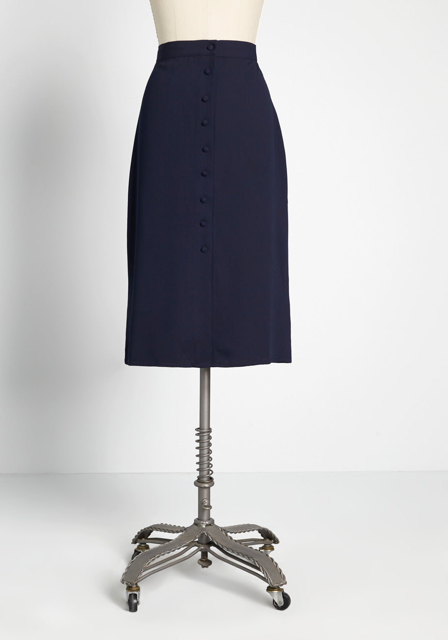 1950s Style Clothing & Fashion ModCloth Buttoned Up in Style Midi Skirt in Navy Size 8 $19.97 AT vintagedancer.com