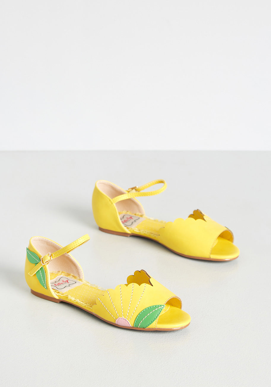 Retro Vintage Flats and Low Heel Shoes Bettie Page Hooray of Sunshine Flats in Yellow Size 11 $72.00 AT vintagedancer.com