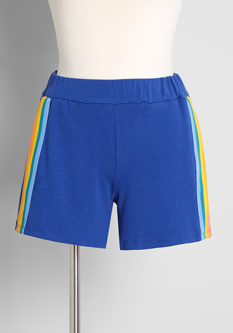 Vintage Workout Clothes – Retro Gym Clothes ModCloth x CAMP Collection These Are the Days Shorts in Royal Blue Size 2X $45.00 AT vintagedancer.com