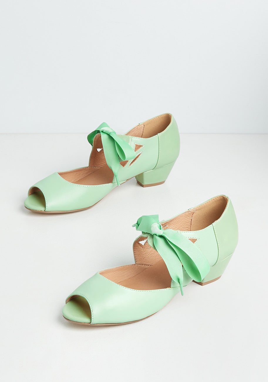 Retro Vintage Flats and Low Heel Shoes Chelsea Crew Major Motion Picturesque Peep-Toe Heels in Green Size 42 $59.00 AT vintagedancer.com
