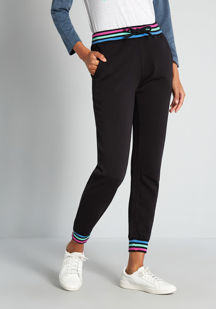 1980s Clothing, Fashion | 80s Style Clothes Sugarhill Brighton Navigating in Neon Stripes Joggers Pants in Black Size 18 $65.00 AT vintagedancer.com