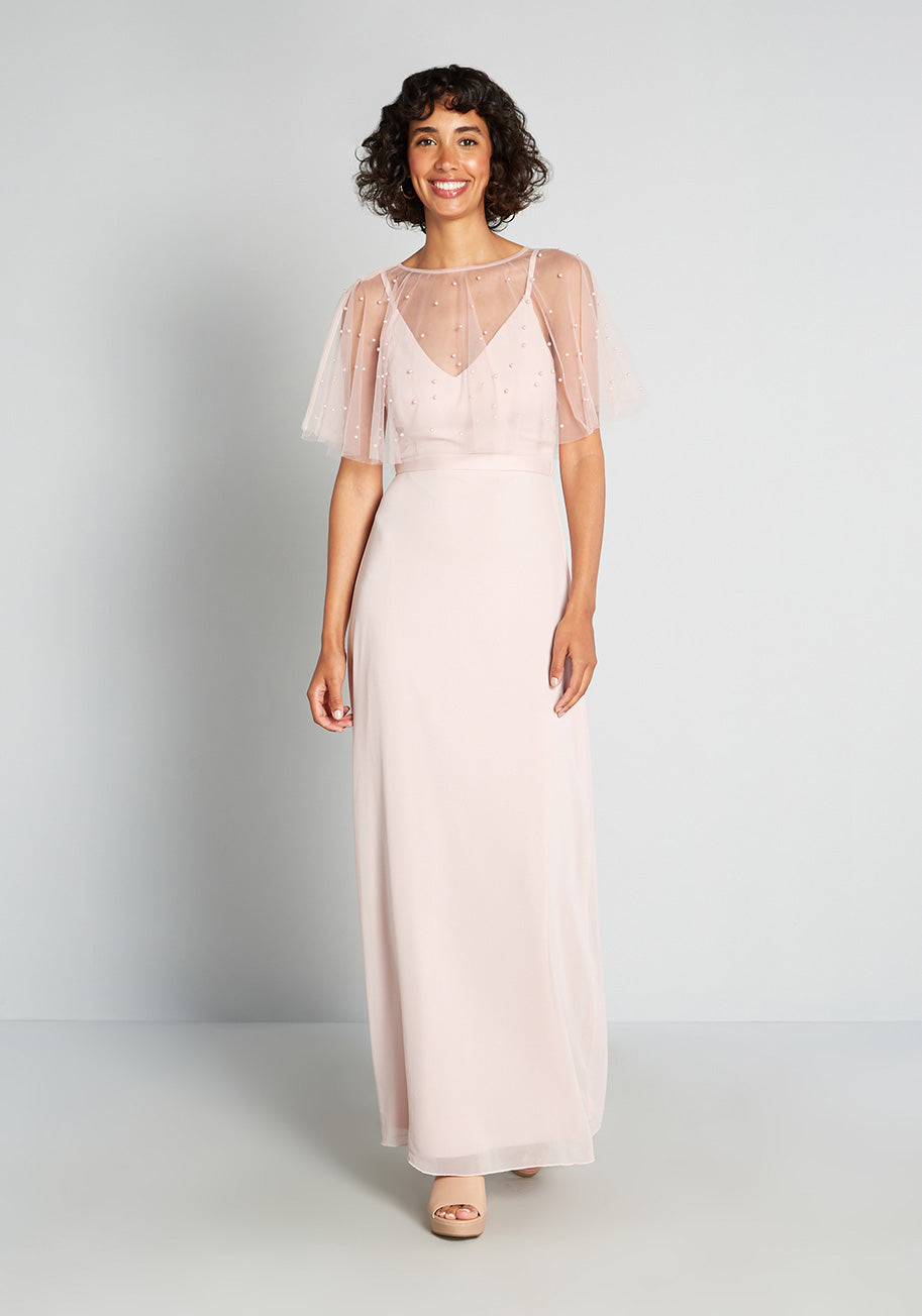 1960s Cocktail, Party, Prom, Evening Dresses ModCloth Misty Pink Perfection Maxi Dress Size 16 $129.00 AT vintagedancer.com