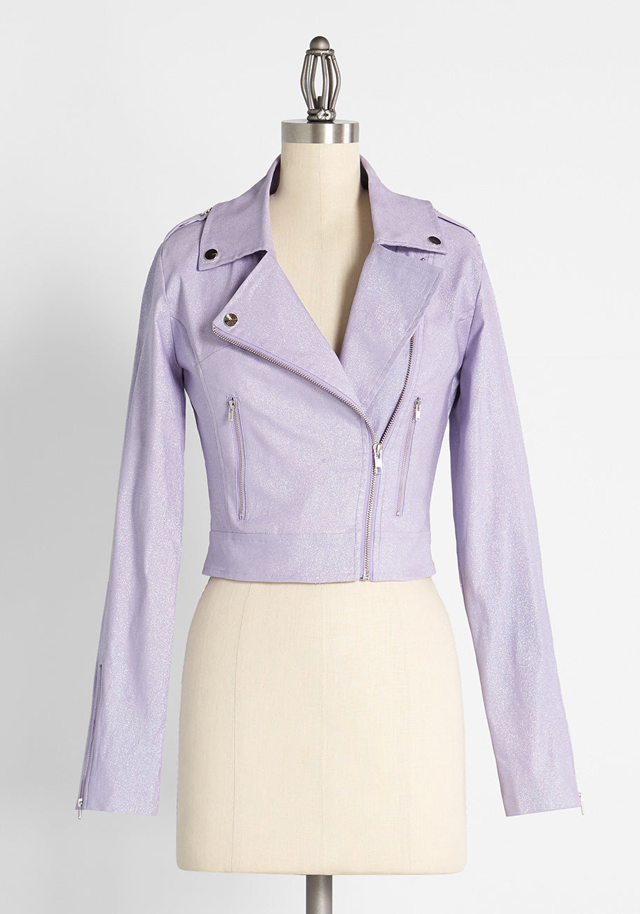 1950s Coats and Jackets History Collectif Off the Exit of Extra Moto Jacket in Lilac Size 20 $109.00 AT vintagedancer.com