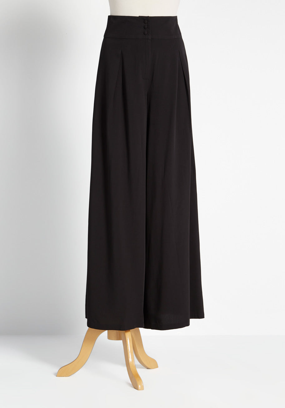 1920s Style Women's Pants, Trousers, Knickers, Tuxedo ModCloth Wants and Breeze Wide-Leg Pants in Black Size 12 $19.97 AT vintagedancer.com