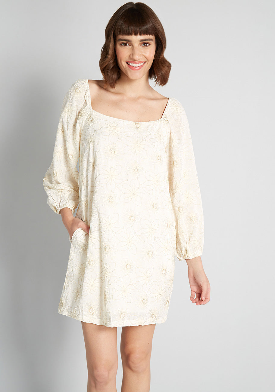 70s Dresses – Disco Dress, Hippie Dress, Wrap Dress Traffic People Follow Your Bliss Embroidered Mini Dress in Cream Size XL $189.00 AT vintagedancer.com