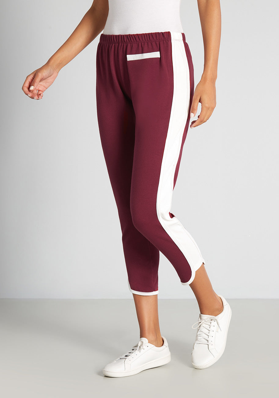 70s Workout Clothes | 80s Tracksuits, Running Shorts, Leotards ModCloth x CAMP Collection Roller Rink Bound Sweatpants in Burgundy Size 1X $44.99 AT vintagedancer.com