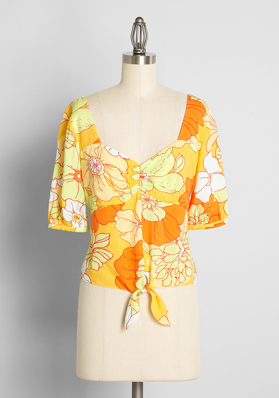 60s Shirts, T-shirts, Blouses, Hippie Shirts ModCloth Seaside Cottage Getaway Tie-Front Top in Honolulu Floral in YellowHonolulu Floral Size 4X $49.00 AT vintagedancer.com