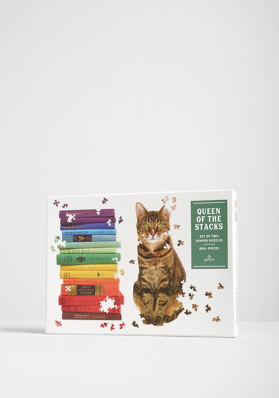 queen of the stacks, cat and book puzzle