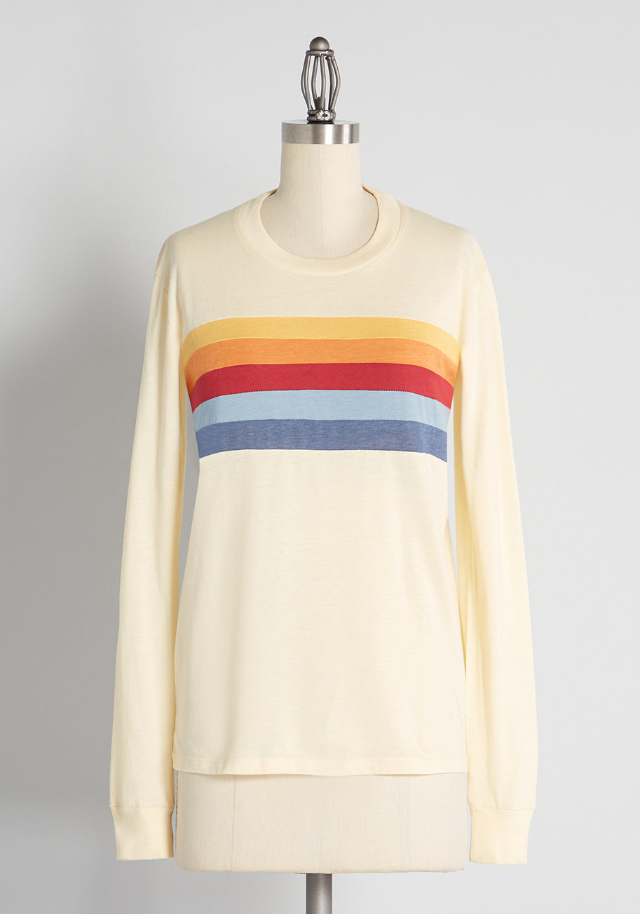 Women's 70s Shirts, Blouses, Hippie Tops CAMP Stopping In Sundance Long Sleeve T-Shirt in Cream Size 1X $45.00 AT vintagedancer.com