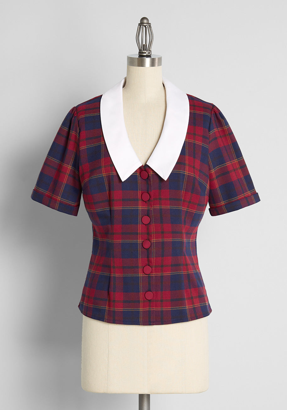 Vintage Western Wear Clothing, Outfit Ideas ModCloth x Collectif Plaid to Be Back Button-Up Blouse in Red Size 30 $59.00 AT vintagedancer.com