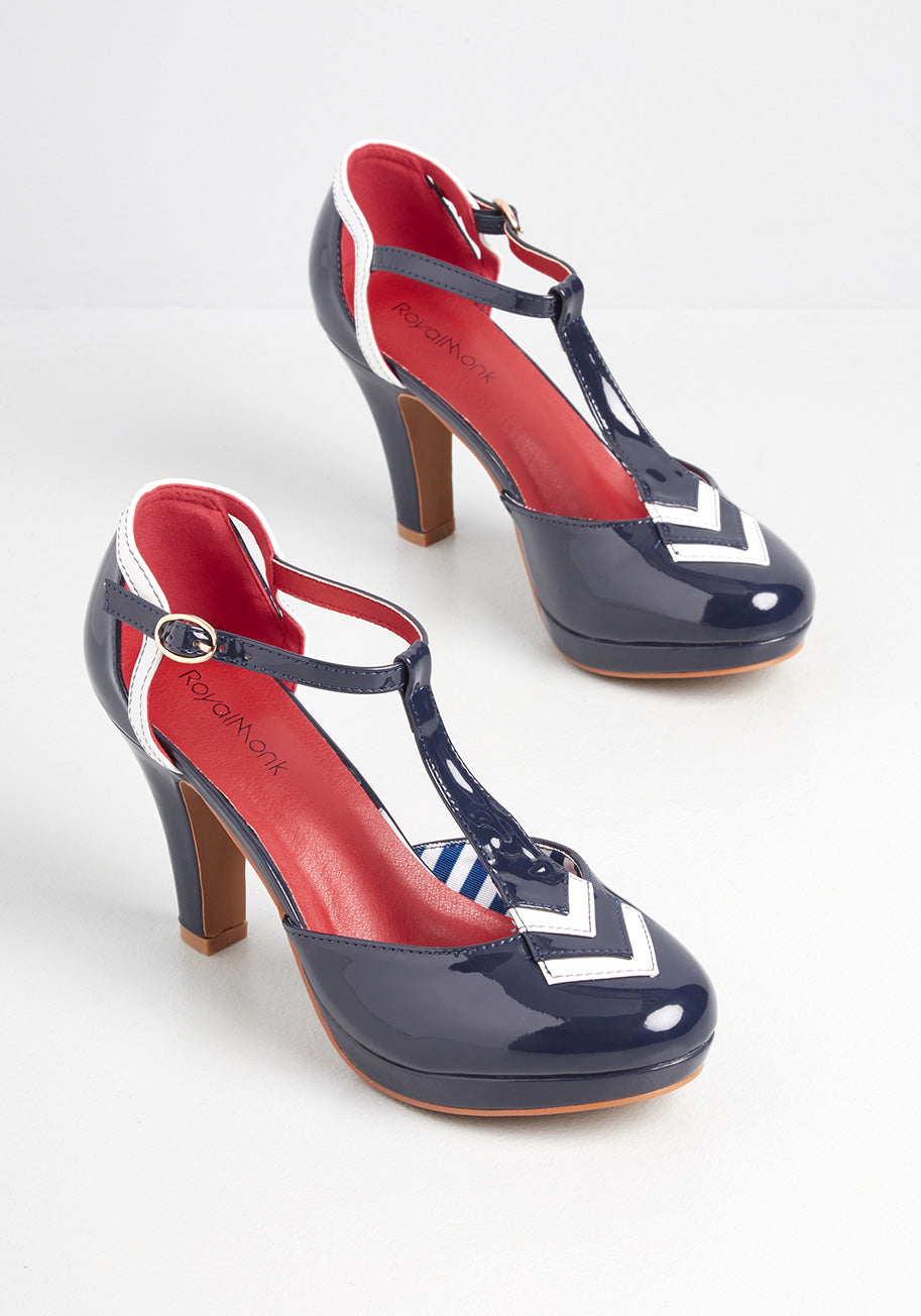 Vintage Sailor Clothes, Nautical Theme Clothing Banned All Aboard T-Strap Heels in Navy Size 39 $80.00 AT vintagedancer.com