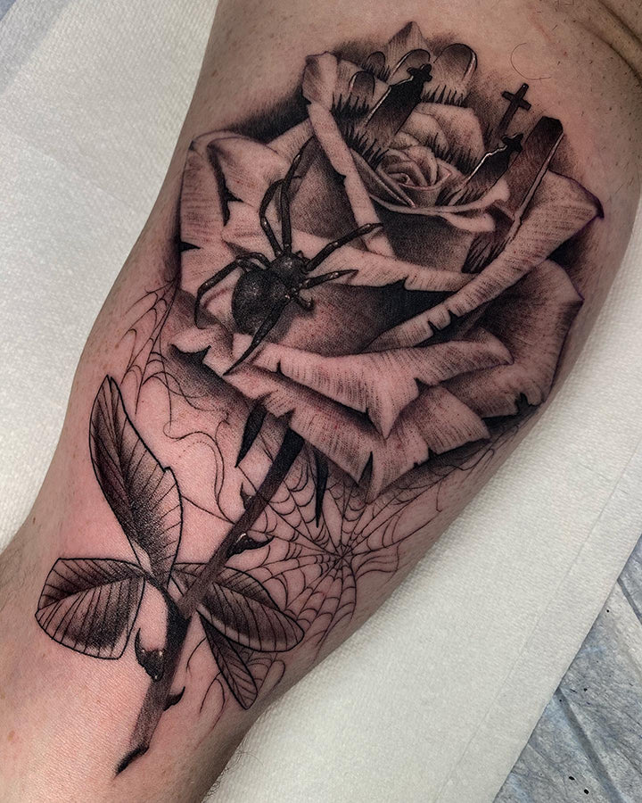 spider and rose tattoo