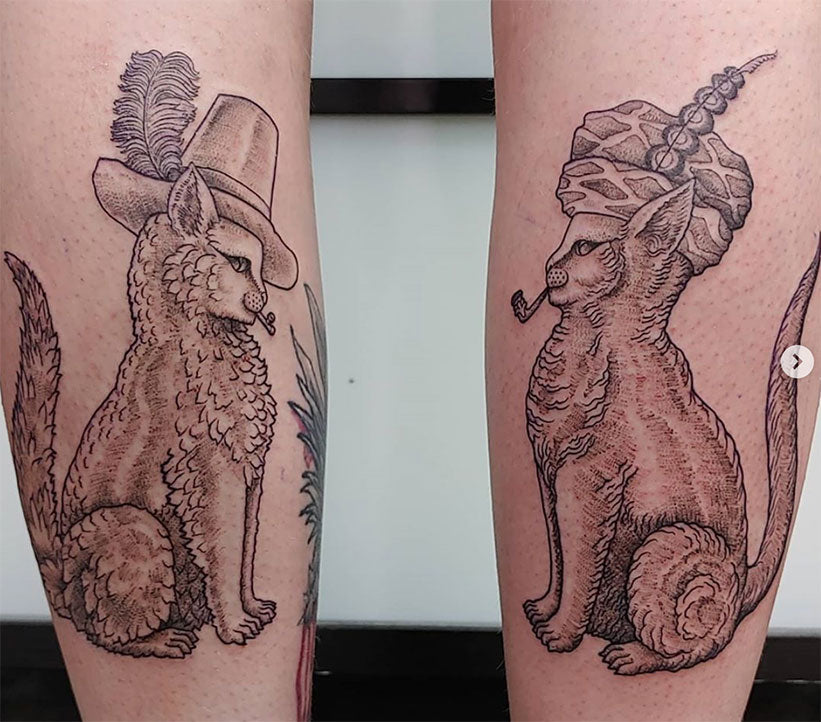 cats with hats on calves tattoo